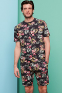 Navy Floral Short Pyjama Set